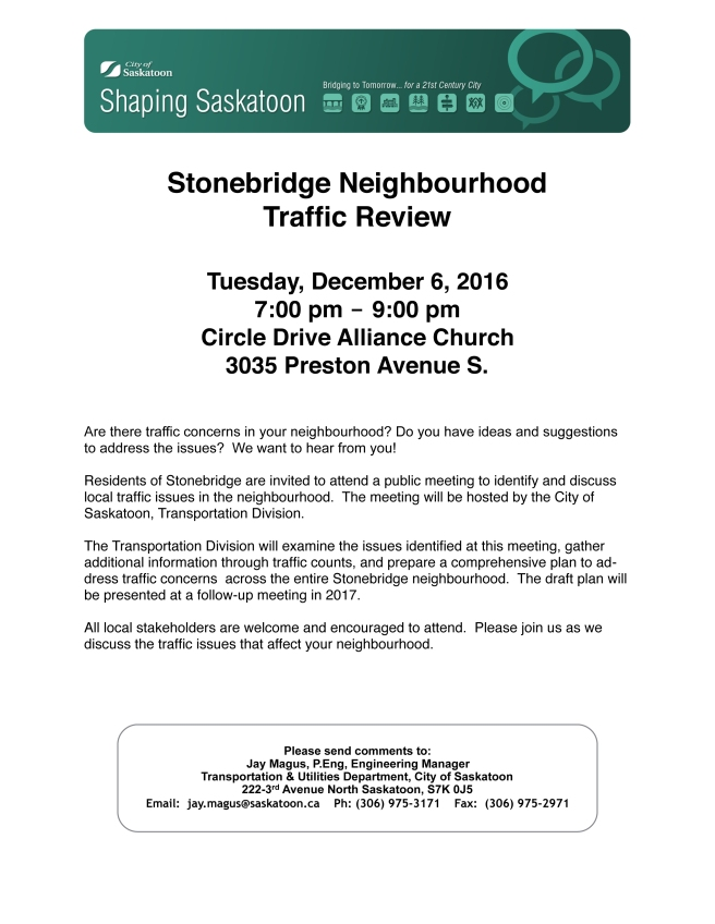 Shaping Saskatoon Stonebridge Traffic Review Flyer